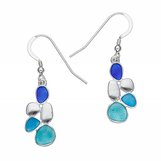 St Justin Glas Mor pebbles enamelled drop earrings