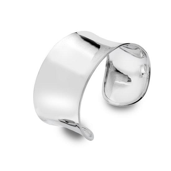 Silver Cuff Bangle, Wide