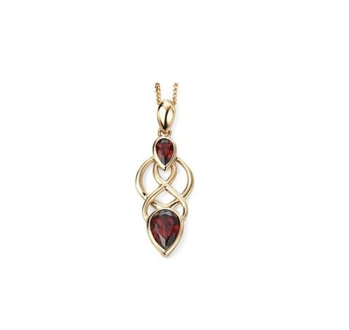 Yellow Gold Celtic Garnet Pendant