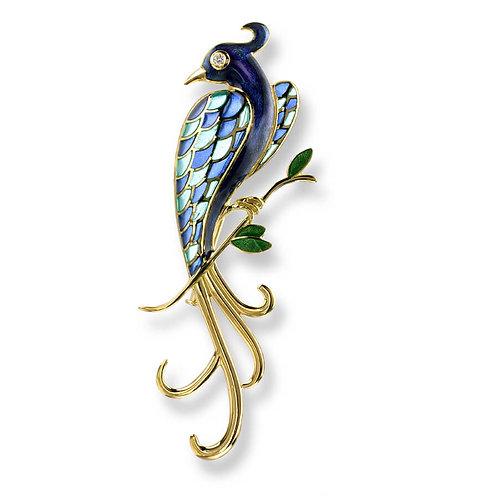 18 Carat Gold Blue Lyre Bird Brooch