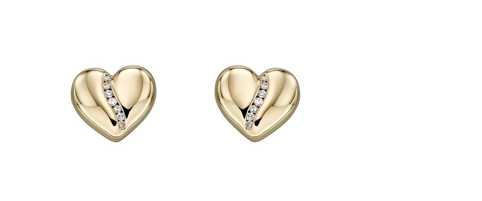 Diamond Channel Heart Earrings, 9ct Gold