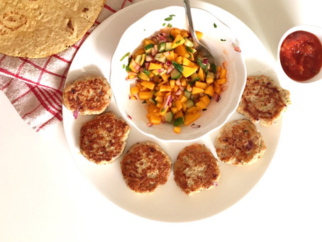 Spicy Chicken Patties with Mango Salsa