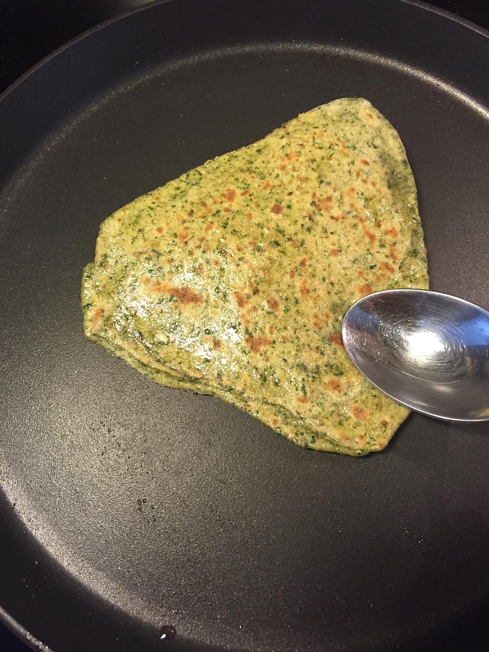 Spinach Paratha, on Skillet