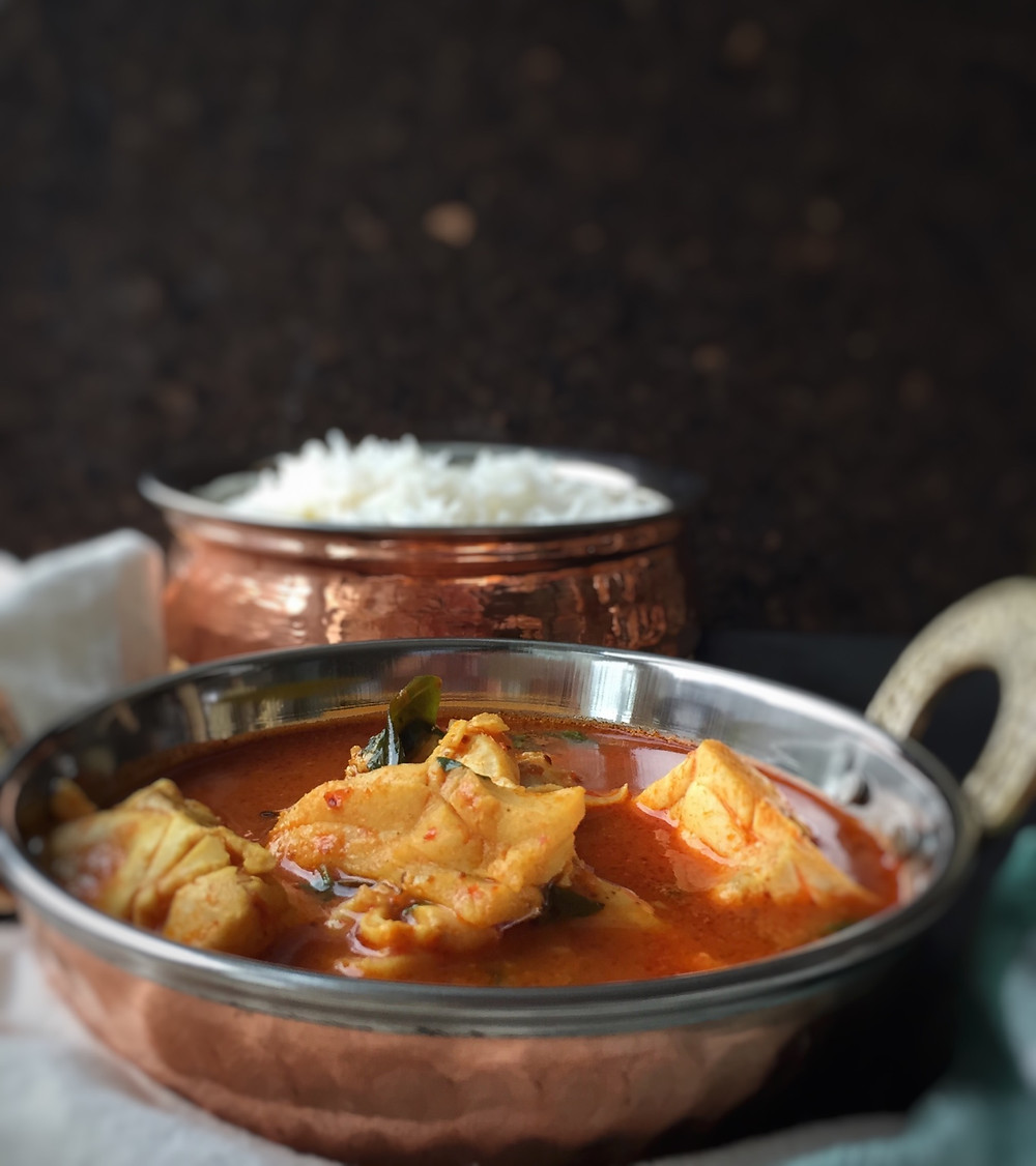 Tomato Fish Curry with rice