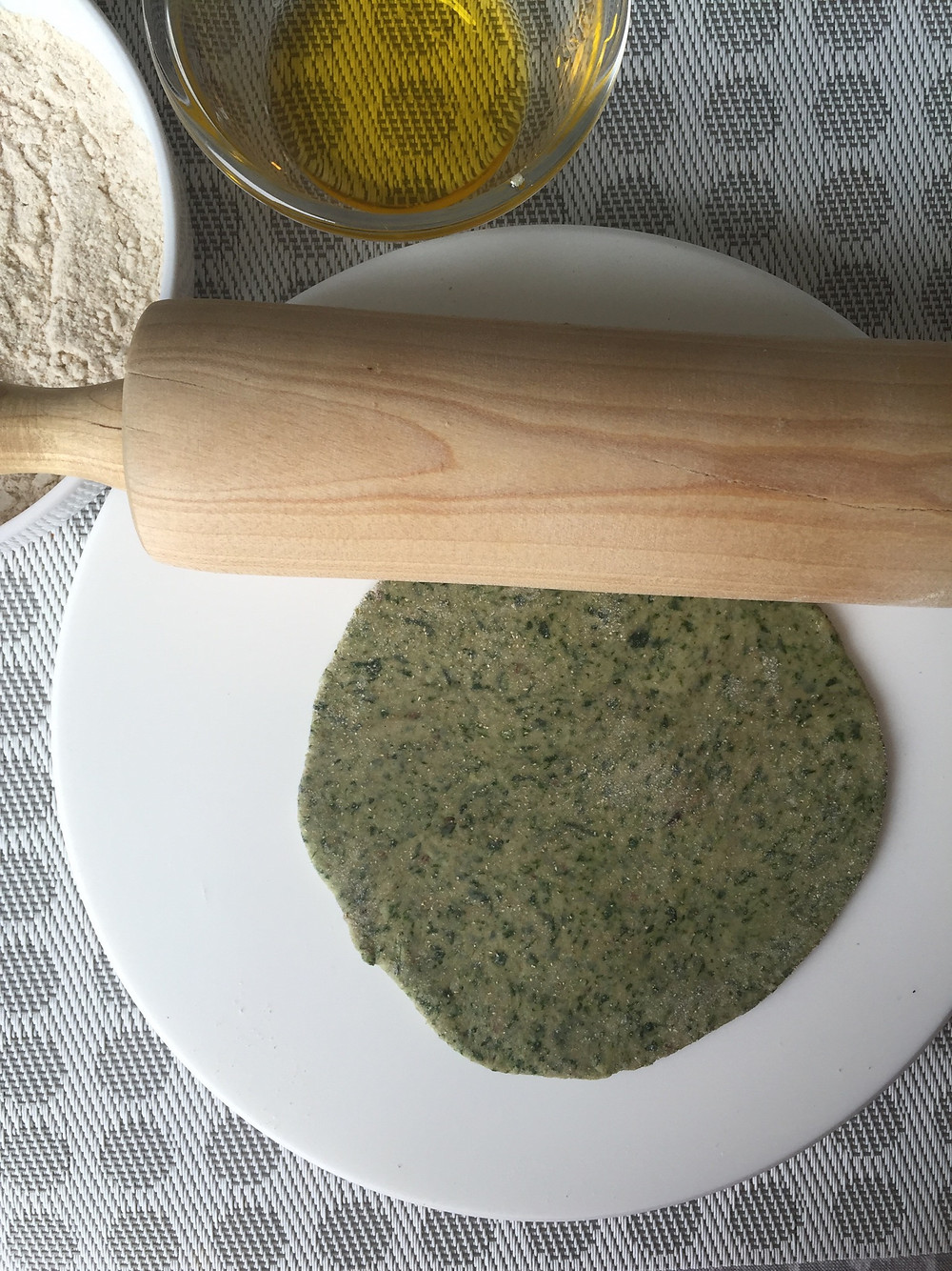 Spinach Paratha, rolled out into a circle