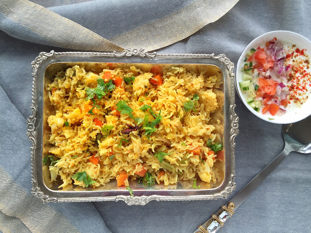Vegetable Pulao, basmati rice cooked with vegetables