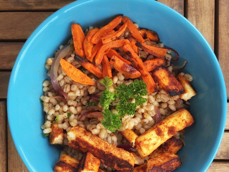 Barley Salad with Roasted Sweet Potato and Tandoori Paneer