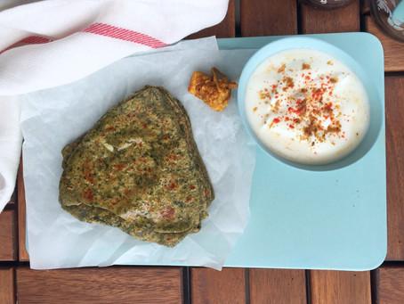 Spinach Paratha - Yeast free, Vegan flatbreads
