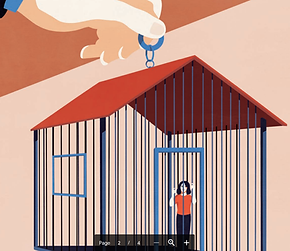 A drawing of a woman in a house-shaped cage that's being held by a human hand