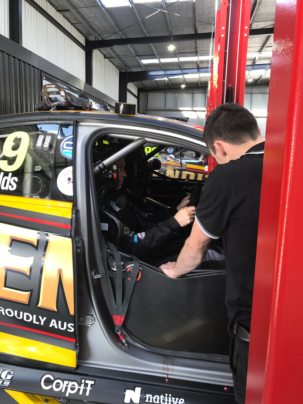 Seat fit with David Reynolds and Mechanic Brad Tremain