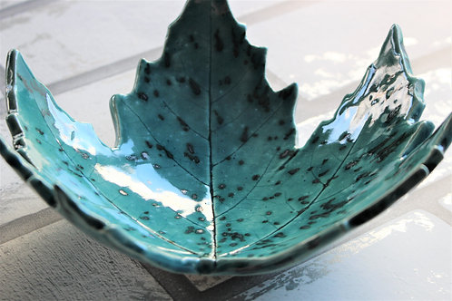 Speckled Turquoise Leaf Dish