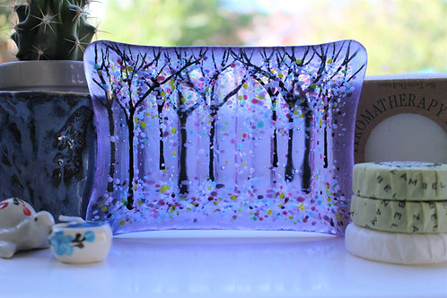 Lovely Lavender Fused Glass Soap Dish
