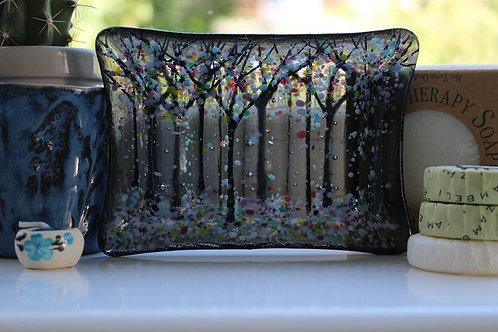 Oregon Grey Fused Glass Soap Dish