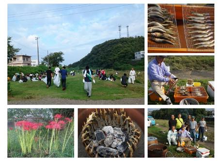 河川敷清掃と鮎の試食会