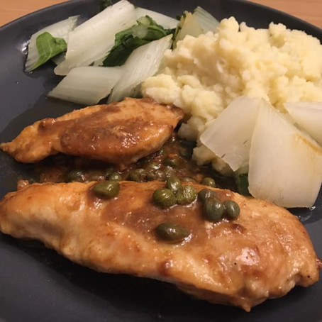 Chicken Piccata with Bok Choy and Turnip Mash