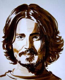 Portrait de Johnny Depp à l'encre