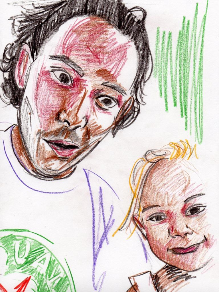 Portrait frère et sœur aux crayons d
