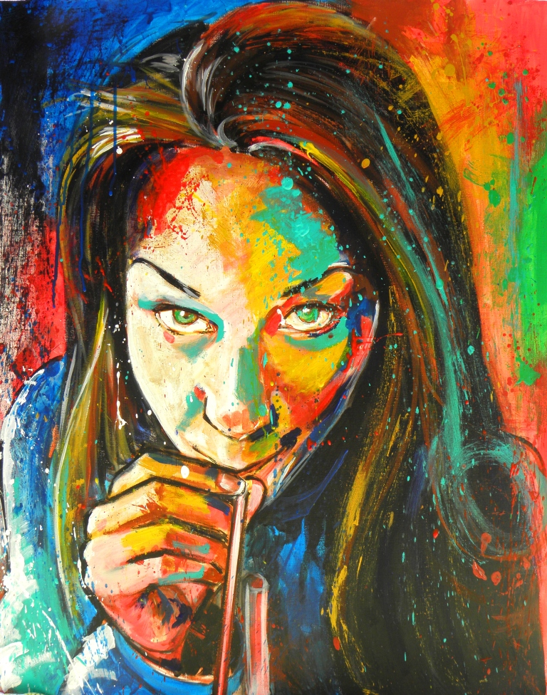 Auto-portrait à l'acrylique