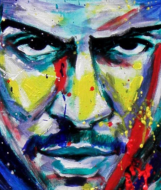 Détail d'un portrait à l'acrylique