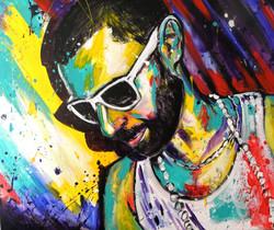 Portrait homme à l'acrylique