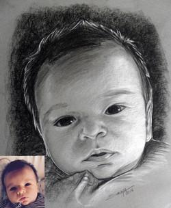 Portrait bébé au pastel