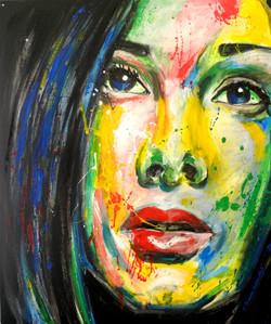 Portrait de femme à l'acrylique