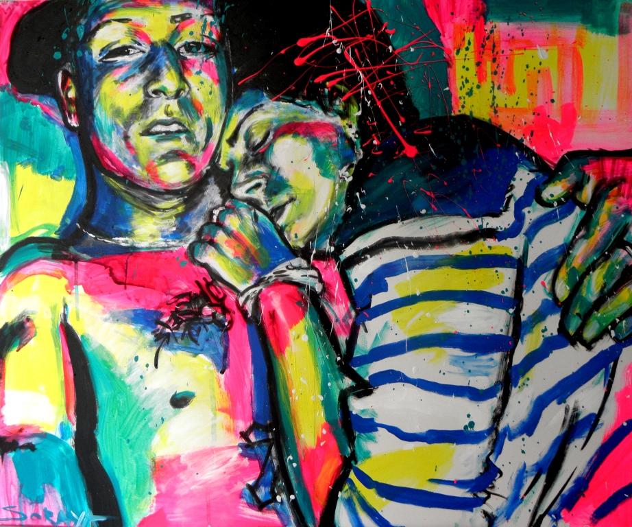Portrait de couple à l'acrylique