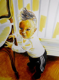 Portrait d'enfant aux feutres marque