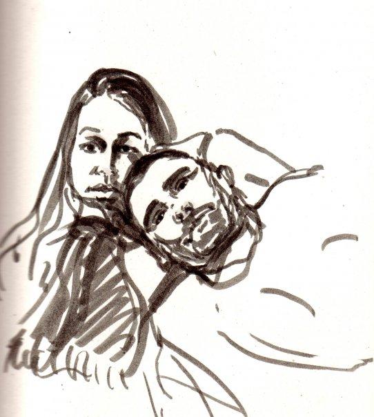 Portrait de couple à l'encre - 21 x