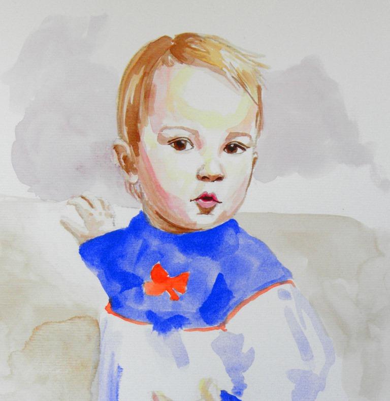 Portrait de bébé à l'aquarelle