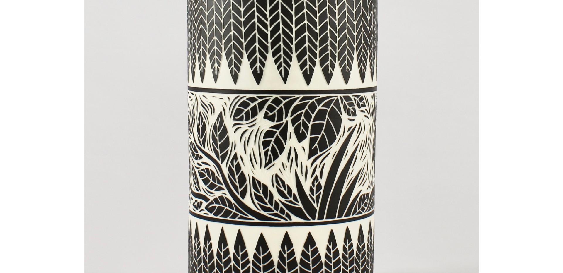 "Vase cylindrique ""feuilles"""