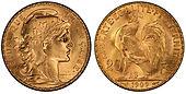 France 20 Francs Rooster Marianne Gold B