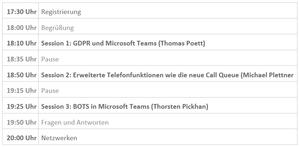 Agenda Microsoft Teams User Group Treffen zur GDPR