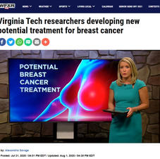 7/2020 - Virginia Tech researchers developing new potential treatment for breast cancer