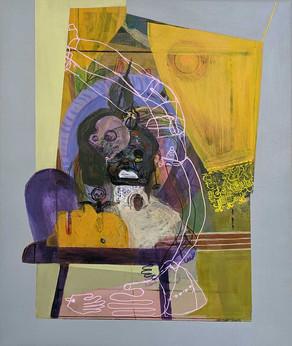 YASEMİN ŞENEL Yellow Curtain, Acrylic on canvas  45x38 cm 2019   2900 Euro