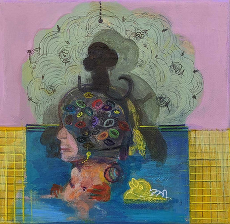 YASEMİN ŞENEL Monkey on head, Acrylic on canvas  45x38cm 2020   1400 Euro