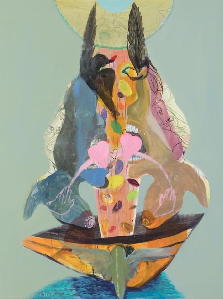 YASEMİN ŞENEL Série Les Ailées  (The Boat), mix media on canvas  70x60 cm 4700 Euro