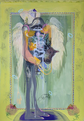 YASEMİN ŞENEL Angel, mix media on paper mounted on canvas  143x98 cm 7300 Euro