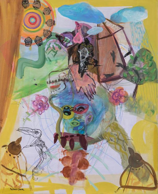 YASEMİN ŞENEL Série Les Ailées, mix media on  canvas  80x65 cm 5300 Euro