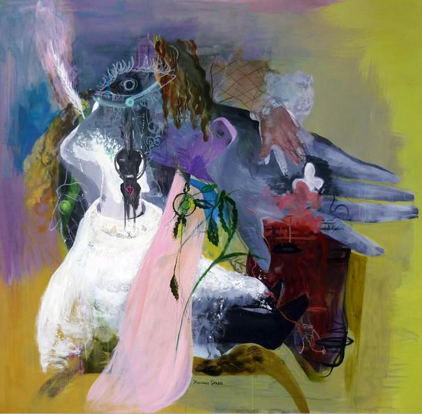 YASEMİN ŞENEL Hello Baby, acrylic on canvas 136x140 cm 10000 Euro