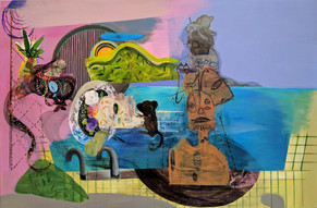 YASEMİN ŞENEL Ophelia in the swimmingpool with monkeys and a contemporary sculpture, acrylic on canvas 90x138 cm 8300 Euro