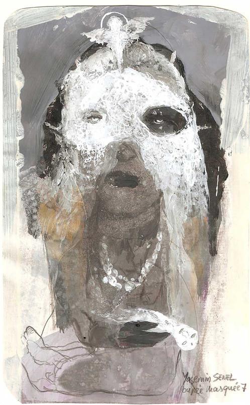 YASEMİN ŞENEL Masked Doll 7, Mixed media on paper  19 × 12 cm 2012   800 Euro