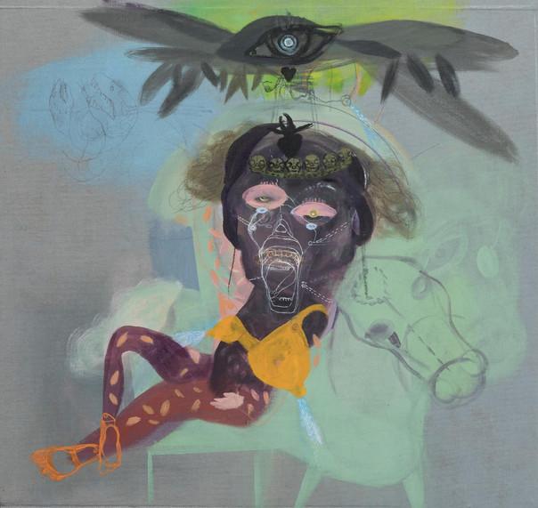 YASEMİN ŞENEL Série Les Ailées  (Amazone), mix media on canvas  93x98 cm 7000 Euro