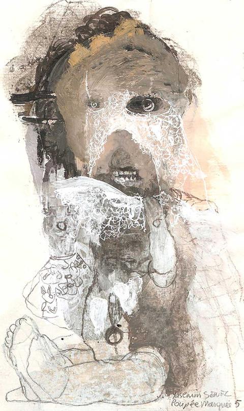 YASEMİN ŞENEL Masked Doll 5, Mixed media on paper  19 × 12 cm 2013   800 Euro