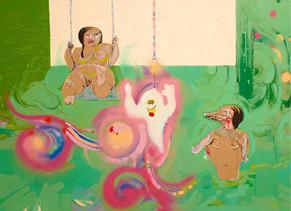 KATE LYDDON Acid House Swirly-Whirly Tuval üzerine akrilik, yaglı boya, sprey boya, karışık material 170x230 cm SOLD