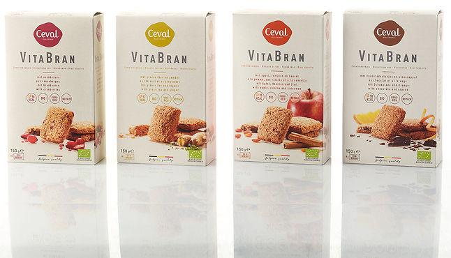 Ons nieuw VitaBran-assortiment: bio zemelenkoekjes, rijk aan vezels, minder dan 100 kcal per koekje
