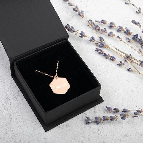 (DREAM) Engraved Silver Hexagon Necklace