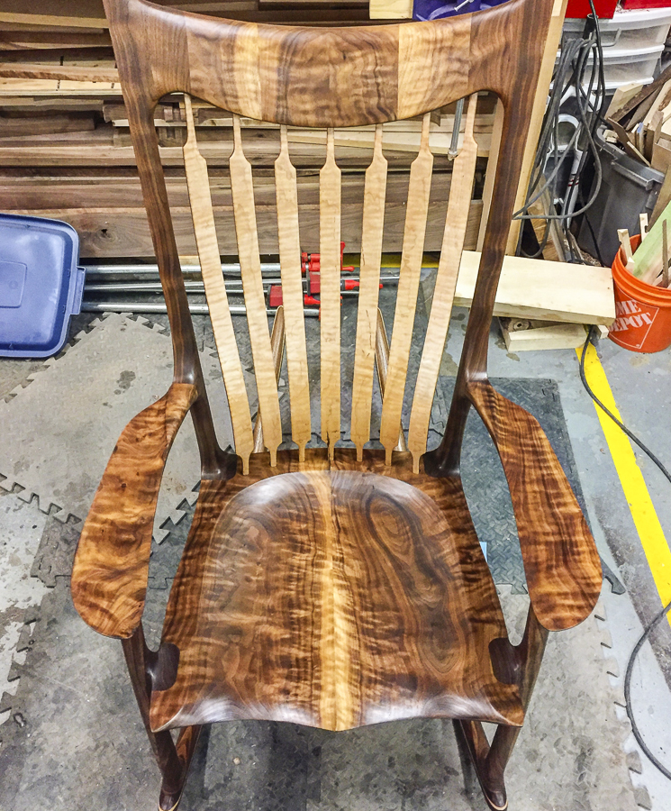 Curly Walnut and Maple Rocker
