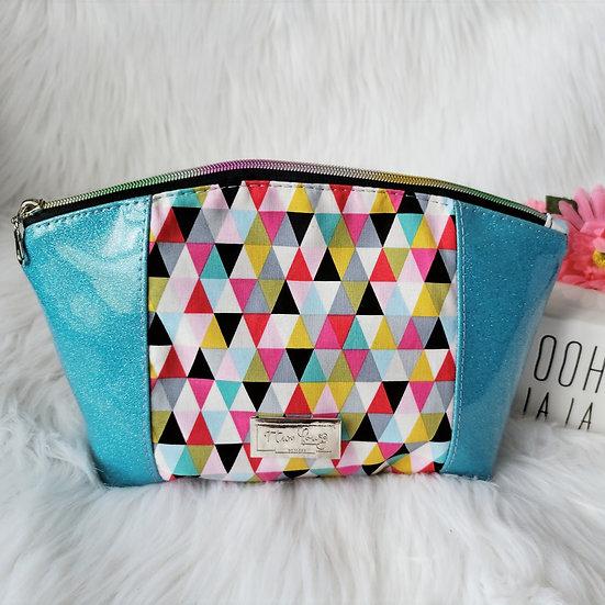Triangles and Blue Glitter Vinyl Curvy Zipper Clutch
