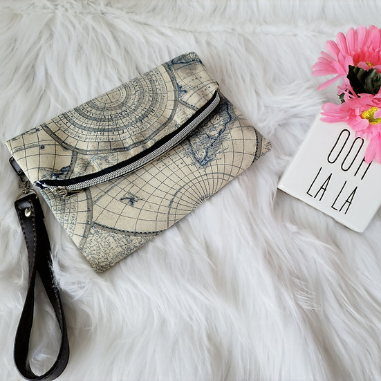 All Over the World Foldover Clutch